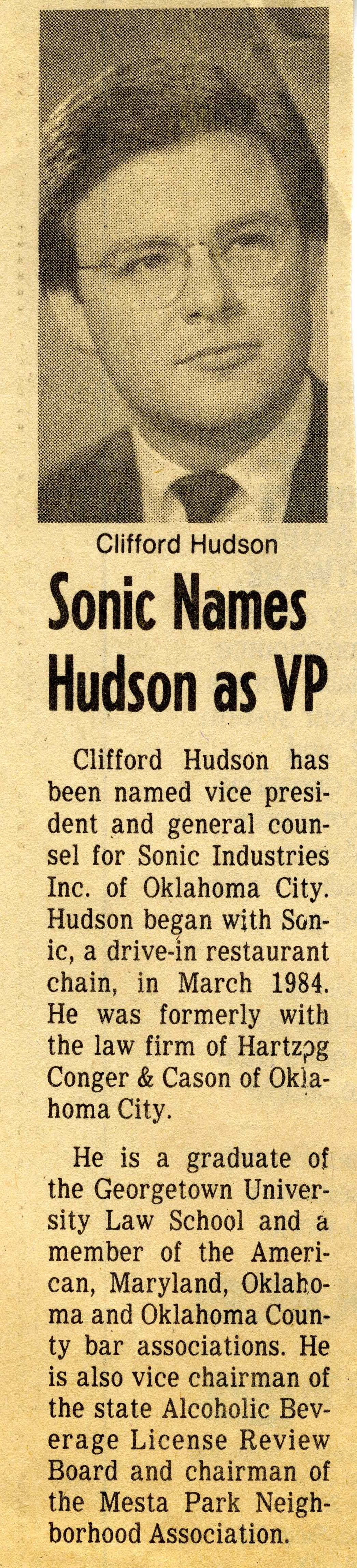 Clifford Hudson VP article