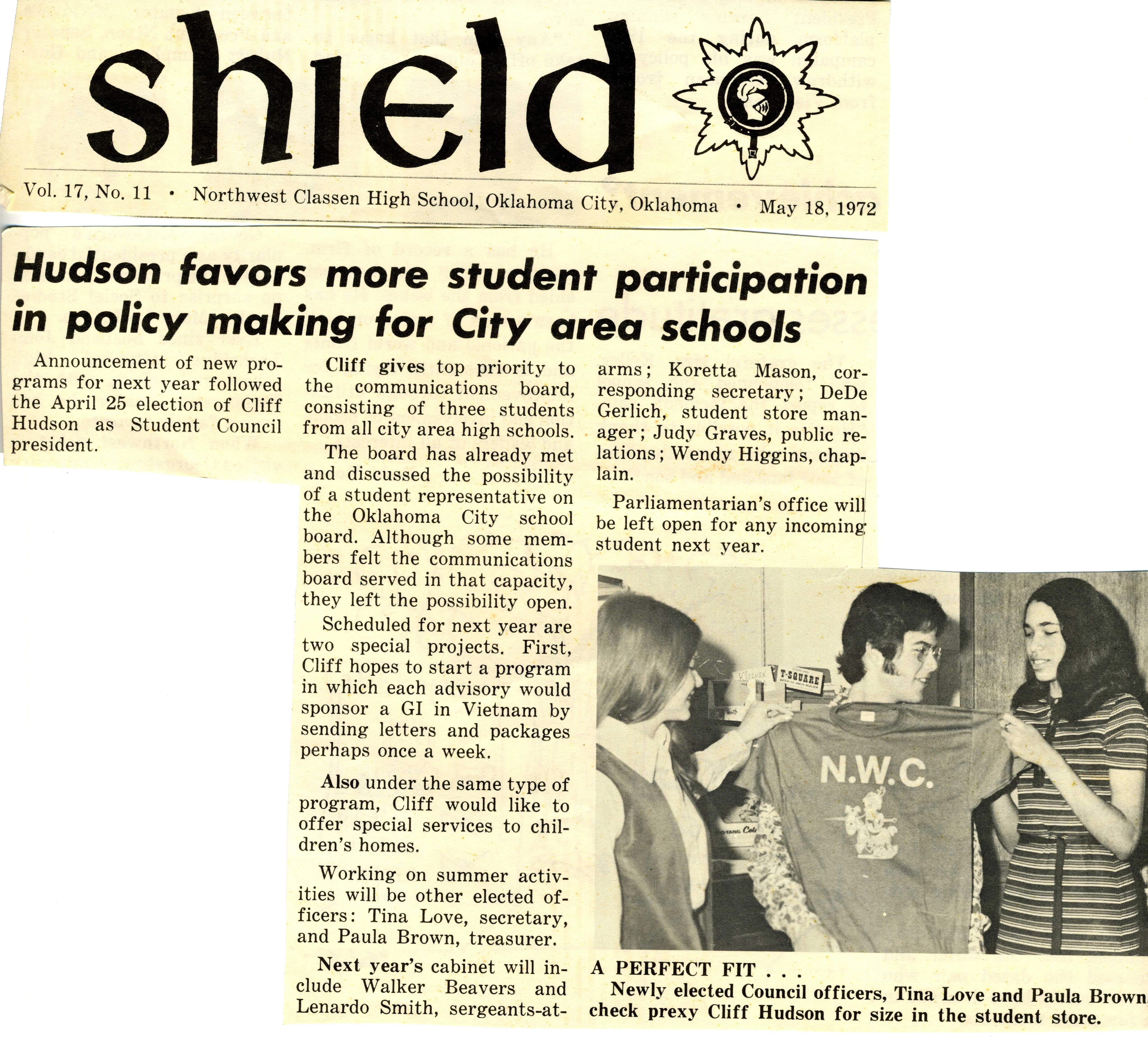 Northwest Classen High School newspaper cutting announcing Clifford Hudson as Student Council president