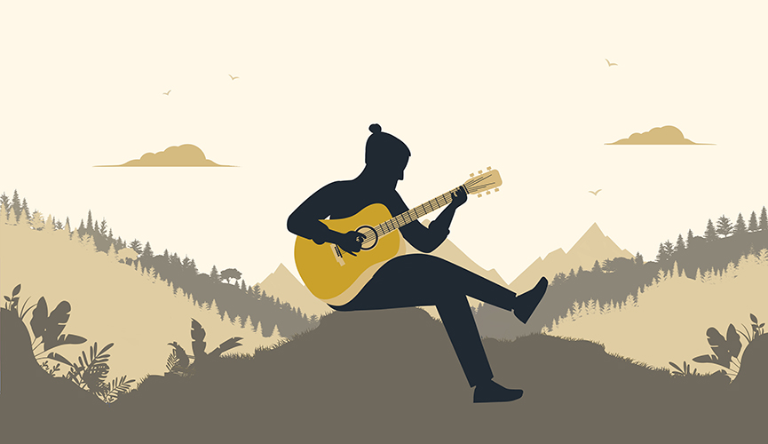 man on mountain playing guitar illustration